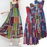 UK Ladies Womens Summer Beach Sleeveless Maxi Dress Holiday Long Sundress