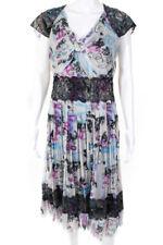 Chanel Feminino De Seda Graffiti Plissadas Vestido de Renda Roxo Azul Preto 07C tamanho 42 Eur