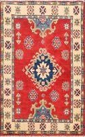 Geometric Super Kazak Hand-Knotted Area Rug Traditional Oriental Wool 2x3 Carpet