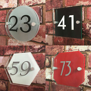 personalised acrylic HOUSE SIGN PLAQUE with house number | door modern glass eff