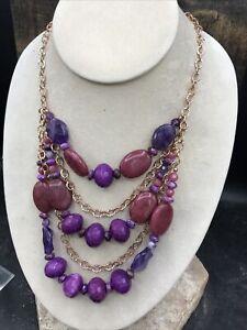 Barse Bordeaux Multi-Strand Necklace- Mixed Stones & Copper- NWT