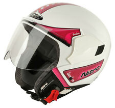 Nitro NGJP Bon Bon Open Face Motorcycle Helmet Motorbike White/Pink Large