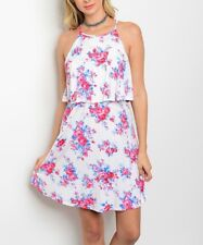 Floral Dress Size 14 Sleeveless Off White And Pink Blouson