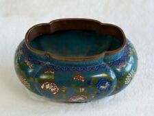 New listing Chinese Cloisonne Planter Ovoid In Shape 1920-1930, Blue Enamel With Flowers