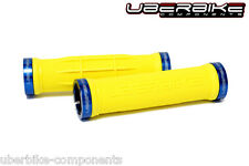 Uberbike Half Waffle Lock on mountain bike Handlebar Grips Yellow/Blue