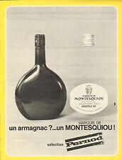 Publicité Advertising 1967  ARMAGNAC MARQUIS DE MONTESQUIOU sélection PERNOD