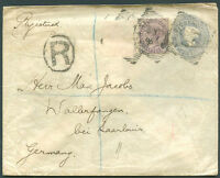 GREAT BRITAIN TO GERMANY Registered Postal Stationery (a stamp is missing)