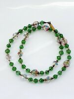 "Vintage 14"" Sparkly Faceted Green Rainbow Glass Necklace"