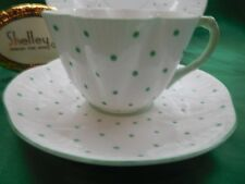 SHELLEY  DAINTY GREEN  POLKA DOTS   * TRIO *  CUP, SAUCER, AND PLATE # 13748/G