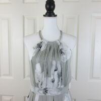 Calvin Klein Sz 10 Halter Print Sleeveless Dress Grey White Multi CD5H4C5H $128