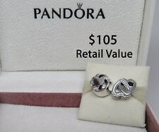 New w/Hinged Box Pandora Gift Set of 2 Charms- Ribbon Heart & Entwined Love