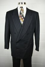 Pal Zileri Double Breasted Gray Flannel Chalk Stripe Wool Cashmere Suit 46R
