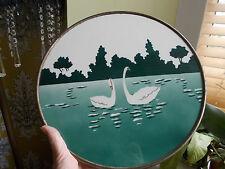 Swan circulaire Carrelage stylisé art déco?/plateau. Marques à l'arrière (ref45)
