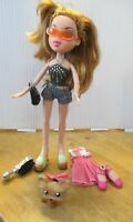 Bratz Doll Long Red Hair denim shorts, pink skirt, top, bag, brush & dog