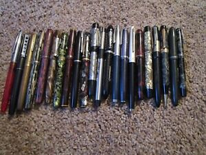 Large Lot Of 22 Vintage Fountain Pens For Restoration