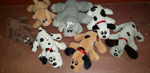"""Pound Puppies Newborn 7"""" Vintage Lot Of 7 Black Gray Brown Spotted Kitty Puppy"""