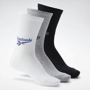 Reebok Classics Crew Socks Black Gray White 3 Pair Men's L 9-10.5