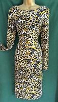 Limited Edition UK 14 Yellow Black Leopard Animal Print Stretch Jersey Dress