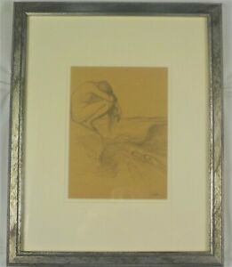 Antique Original Pencil Drawing Nude Girl w/3 Seals by Walter Griffin Listed