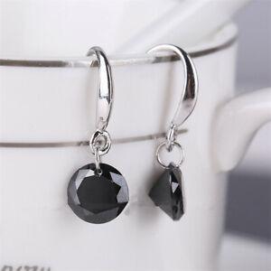 New Circular Shaped Ear Pins Zircon Eardrop Crystal Earrings black Women Jewelry