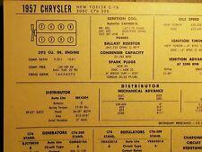 1957 Chrysler EIGHT Series C-76 NYorker & C76-300 Models 392 CI V8 Tune Up Chart
