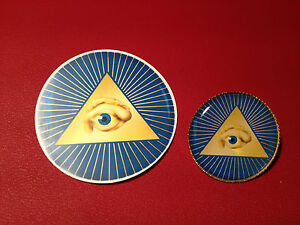 All Seeing Eye Masonic Masons Silver & Gold Plated Lapel Pin Badges &  sticker