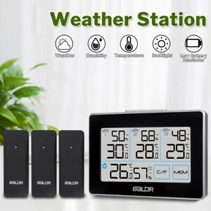 LED Wireless Weather Station & 3 Sensor Temperature Humidity Outdoor Indoor
