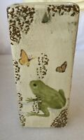 "Vintage Ceramic Wall Pocket Planter Vase 7 3/4"" Frog And Butterflies"