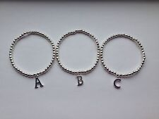 Childs Silver Plated Beaded Bracelet With Initial Charm Stretch Elastic Handmade