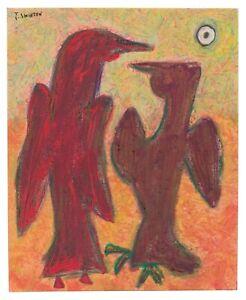 REGAL BIRDS original abstract/folk/outsider? Canadian painting J.Swinton NR
