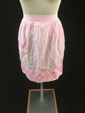 vintage half apron 20 x 21 gingham pink white checkered cross stitch