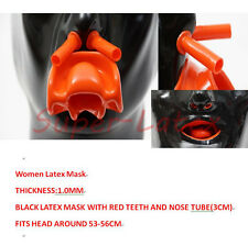 Heavy Latex WOMEN Mask1.0mm with Red Teeth AND Red nose tube Heavy(Fits 53-56cm)