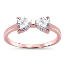 Petite Dainty Heart Ribbon Bow Tie Ring Heart CZ Sterling Silver Choose Color