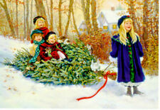 Children Bringing Home Tree #C75266 Christmas Cards - Leanin' Tree -10pk Usa
