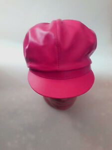 Pink Leather Hat Cap Chef Hat Cooker Cap Genuine Lambskin Womens Real Skin Soft