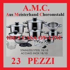 AMC BATTERIA DI PENTOLE 23 PEZZI  ACCIAIO INOX 18/10 UN SUPER OFFERTA DEL MESE