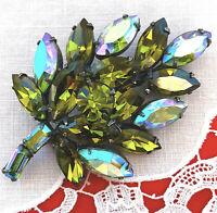 Signed REGENCY Pin BROOCH Olivine Blue AB Rhinestone Leaf Gorgeous Vintage EVC