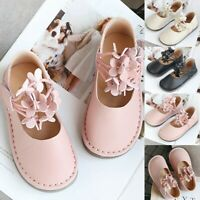 Toddler Infant Kids Baby Girls Leather Shallow Flat Flower Princess Shoe Sandals