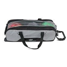 Brunswick Crown Black/Silver Slim Triple 3 Ball Tote Bowling Bag