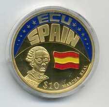 Farb Münze 10 Dollars Liberia 2001 ECU Spanien vergoldet mit Zertifikat M_087