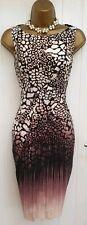 Karen Millen Animal De Algodón Vestido De Algodón Estampado De Serpiente UK 6