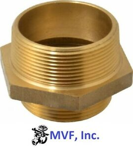 "1-1/2"" Male NST X 1-1/2"" Male NPT Hex Adapter Brass Hydrant Fire Hose <2414625"