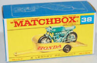 Matchbox Lesney No 38 HONDA MOTORCYCLE AND TRAILER Empty Repro Box style F