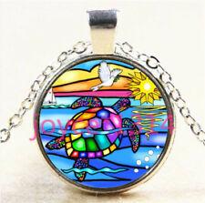 Glass Chain Pendant Necklace #6049 Vintage Sea turtle Cabochon Tibetan silver