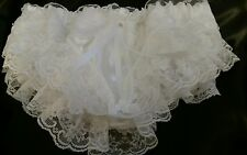 ❤PRETTY WHITE DOUBLE LAYER SATIN FRILLY PANTIES SISSY CD TV ❤