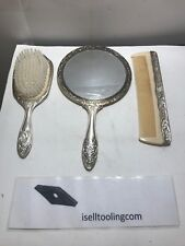 Vanity Set - Antique Vintage Silverplate 3 pc. Hand Mirror, Brush & Comb