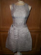 NEW BCBG Maxazria DELPHINE Pleated Cut Out Back Dress Glacier Silver Size 2