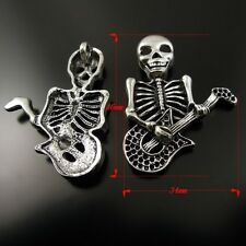 10X Vintage Style Silver Tone Skull Pendant Charms 46*34*4mm
