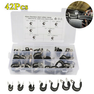 42Pcs Rubber Lined Insulated Clip Cable Mounting Hose Pipe Clamp Stainless Steel