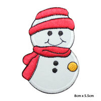 Snowman Christmas Xmas Embroidered Patch Iron on Sew On Badge
